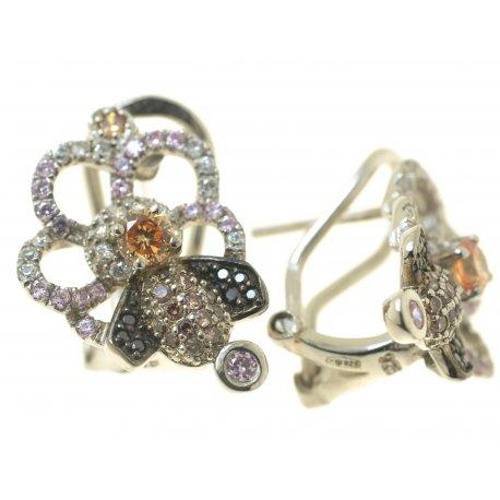 Серьги женские серебряные 925* родий цирконий Арт 11 5390