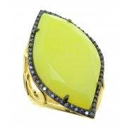 Кольцо женское серебряное 925* позолота цирконий жадеит Арт 55 7246