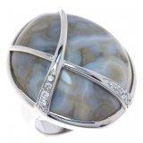 Женское серебряное родированное кольцо 925* с яшмой и белым цирконием, арт. 15 6504С