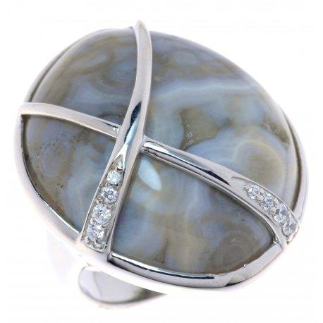 Кольцо женское серебряное 925* родий цирконий яшма Арт 15 6504С