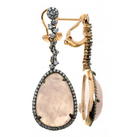 Серьги женские серебряные 925* позолота чернение кварц цирконий Арт 51 7811А