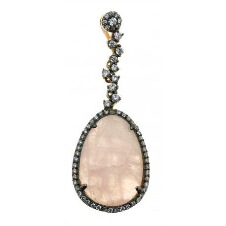 Підвіс жіночий срібний 925* позолота чорніння кварц цирконій Арт 53 8590