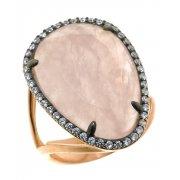 Кольцо женское серебряное 925* позолота чернение кварц цирконий Арт 55 6801А