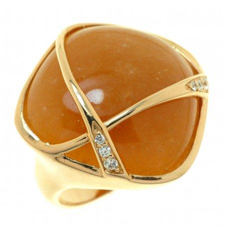 Кольцо женское серебряное 925* позолота красный авантюрин циркон Арт 55 6501А-Х