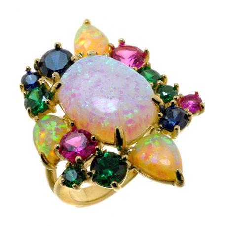 Кольцо женское серебряное 925* позолота цирконий опал Арт 55 6535
