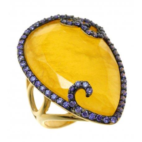 Кольцо женское серебряное 925* позолота чернение кальцит цирконий Арт 55 6017-Х