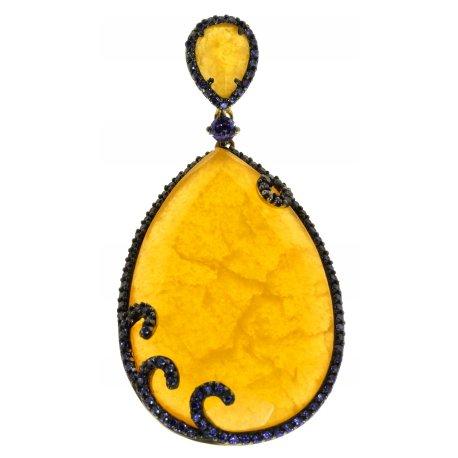 Подес женский серебряный 925* позолота чернение кальцит цирконий Арт 53 7108Р
