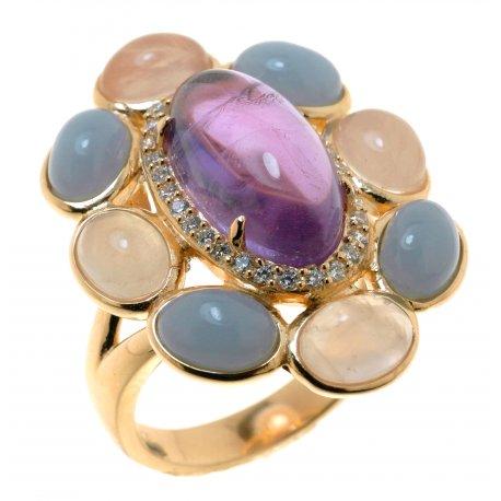 Кольцо женское серебряное 925* позолота ангелит аметист цирконий кварц Арт 55 6595-Х
