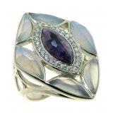 Женское серебряное родированное кольцо 925* с голубым агатом, чароитом и цирконием, арт. 15 6467В