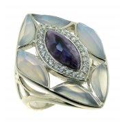 Кольцо женское серебряное 925* родий голубой агат чароит цирконий Арт 15 6467В