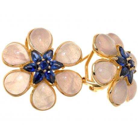 Серьги женские серебряные 925* позолота цирконий кварц Арт 51 8762