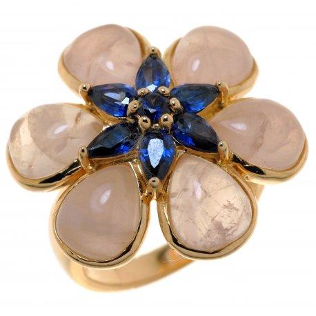 Кольцо женское серебряное 925* позолота цирконий кварц Арт 55 6598-Х