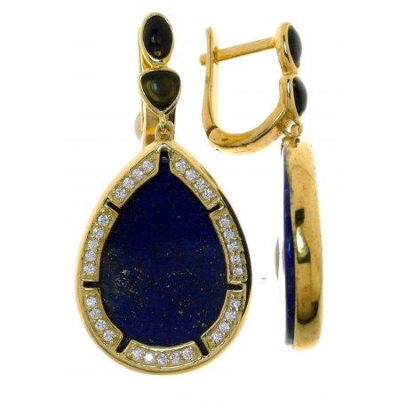 Серьги женские серебряные 925* позолота агат лазурит цирконий Арт 51 7665