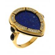 Кольцо женское серебряное 925* позолота агат лазурит цирконий Арт 55 7249