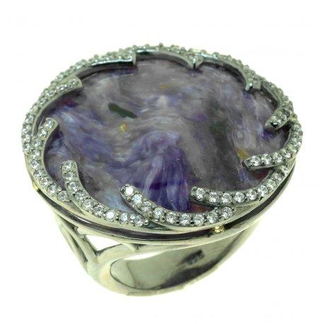 Кольцо женское серебряное 925* чернение цирконий чароит Арт 15 7242