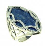 Кольцо женское серебряное 925* родий содалит циркон Арт 15 7243