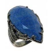 Кольцо женское серебряное 925* чернение цирконий кварц Арт 15 7244