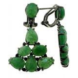 Женские серебряные серьги 925* в чернении с зеленым авантюрином и черным цирконием, Арт.11 7837-1