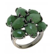Кольцо женское серебряное 925* чернение авантюрин циркон Арт 15 7252