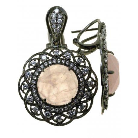 Серьги женские серебряные 925* чернение цирконий кварц Арт 11 7457