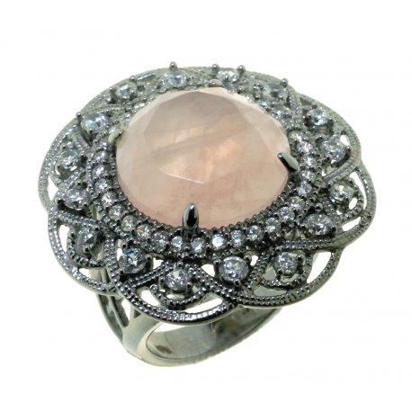 Кольцо женское серебряное 925* чернение цирконий кварц Арт 15 7245