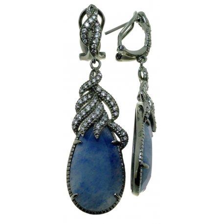 Серьги женские серебряные 925* чернение цирконий кварц Арт 11 7461-Х