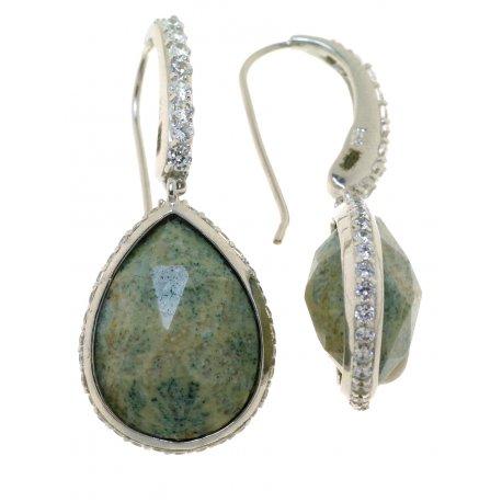 Серьги женские серебряные 925* родий цирконий коралл Арт 11 7022