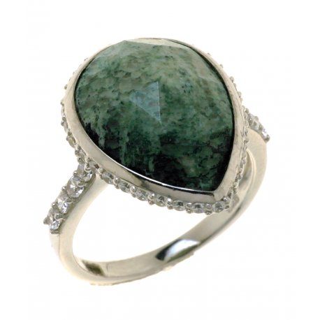 Кольцо женское серебряное 925* родий цирконий коралл Арт 15 7248