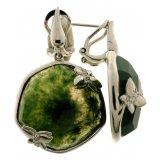 Женские серебряные родированные серьги 925* с зеленым агатом и белым цирконием, арт. 11 8761