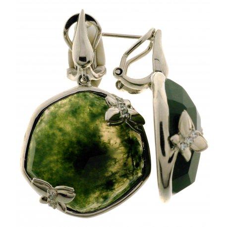 Серьги женские серебряные 925* родий зеленый агат Арт 11 8761