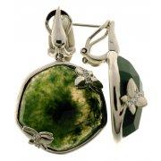Сережки жіночі срібні 925* родій зелений агат Арт 11 8761