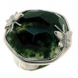 Женское серебряное родированное кольцо 925* с зеленым агатом и белым цирконием, арт. 15 6485-Х