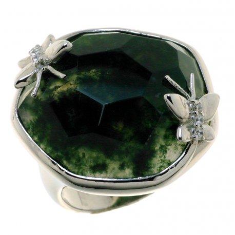 Каблучка жіноча срібна 925* родій зелений агат Арт 15 6485-Х