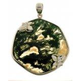 Женский серебряный родированный подвес 925* с зеленым агатом и белым цирконием, арт. 13 7601-Х