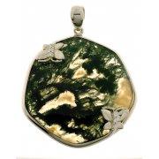 Підвіс жіночий срібний 925* родій зелений агат Арт 13 7601