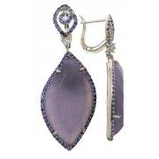 Серьги женские серебряные 925* родий лепидолит циркон Арт 11 7464
