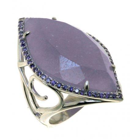 Кольцо женское серебряное 925* родий лепидолит циркон Арт 15 7246