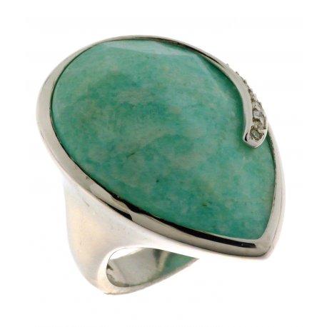 Кольцо женское серебряное 925* родий амазонит циркон Арт 15 7247