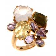 Кольцо женское серебряное 925* позолота кварц лемонтрин аметист Арт 55 6538-Х