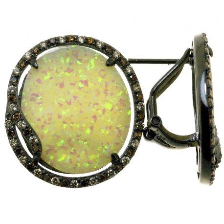 Сережки жіночі срібні 925* чорніння цирконій опал Арт 11 7571