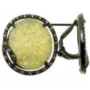 Серьги женские серебряные 925* чернение цирконий опал Арт 11 7571