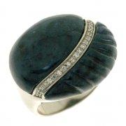 Кольцо женское серебряное 925* родий дюмортьерит циркон Арт 15 5317