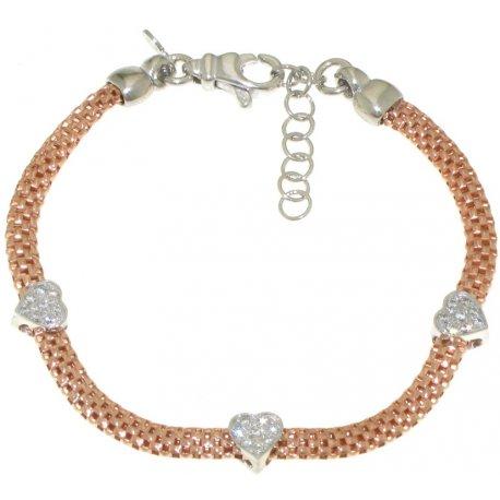Браслет женский серебряный 925* позолота родий циркон Арт 221 517