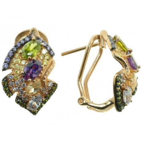 Серьги женские серебряные 925* позолота перидот циркон Арт 51 5430