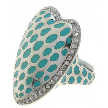 Кольцо женское серебряное 925* родий цирконий эмаль Арт 15 2690А