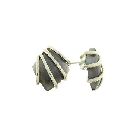 Серьги женские серебряные 925* родий кошачий глаз Арт 11 2 4910
