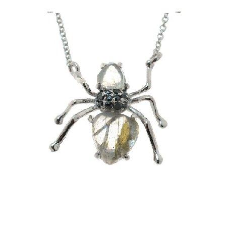 Колье женское серебряное 925* родий лабрадорит циркон Арт 12 1042