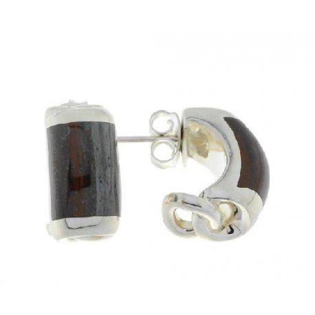 Серьги женские серебряные 925* родий тигровый глаз Арт 11 2 4650к