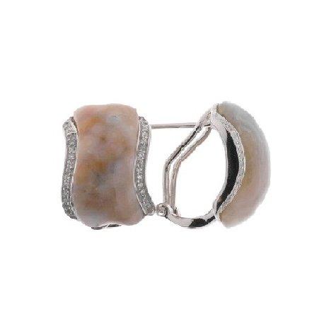Серьги женские серебряные 925* родий цирконий яшма Арт 11 5059А