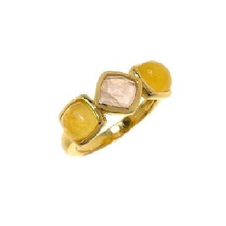 Кольцо женсоке серебряное 925* позолота кальцит кварц Арт 55 6337-Х